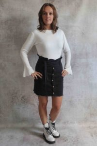Black Stretch Jeans Skirt