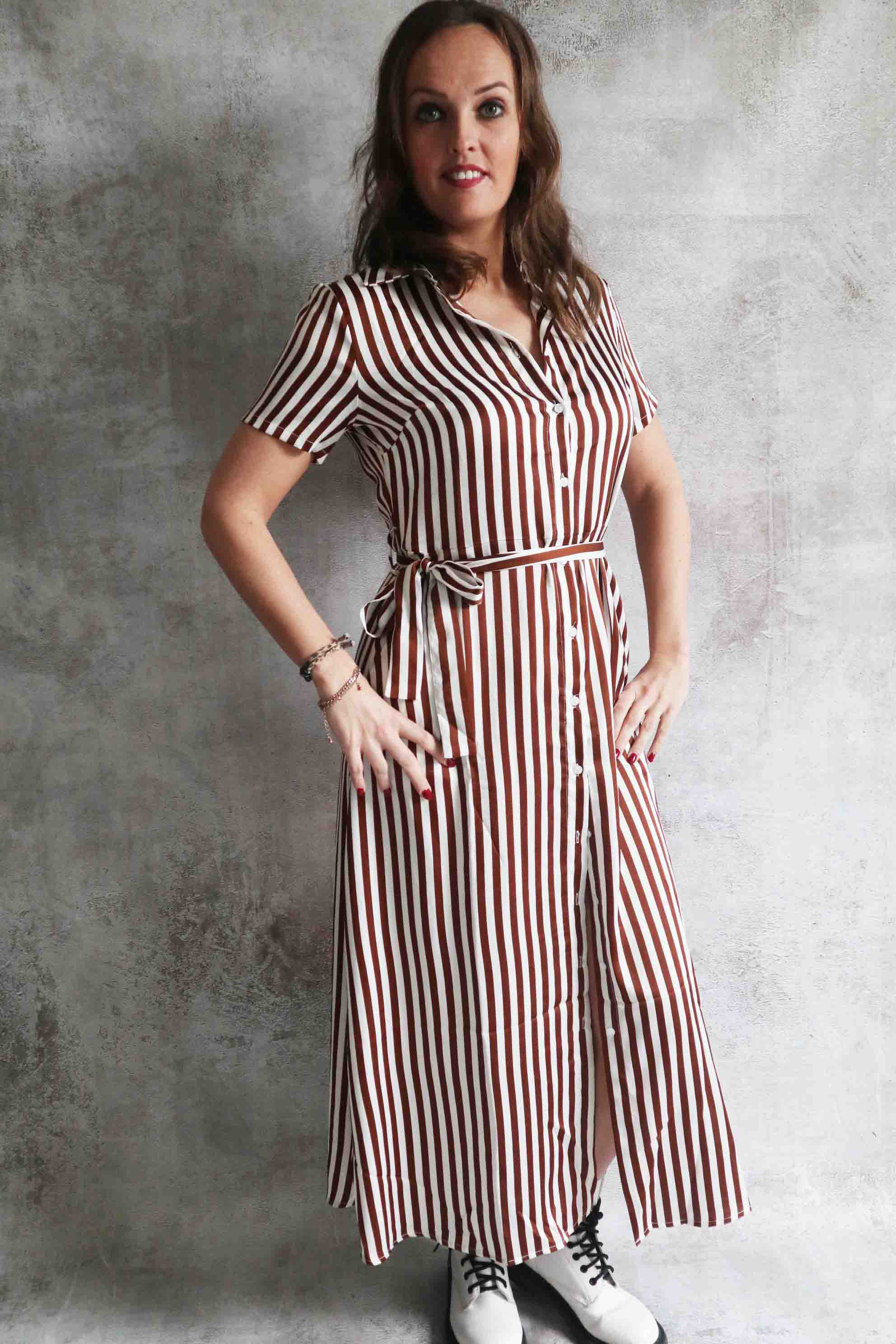 Streep jurk lang